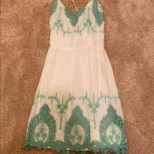White/ mint green dress with lace detail